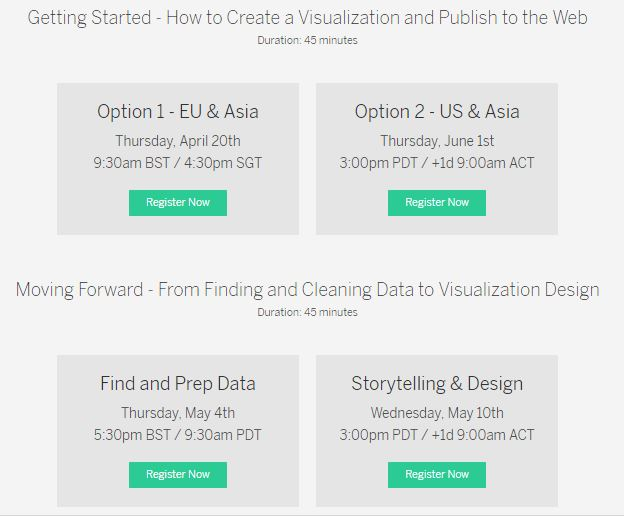 upcoming tableau training