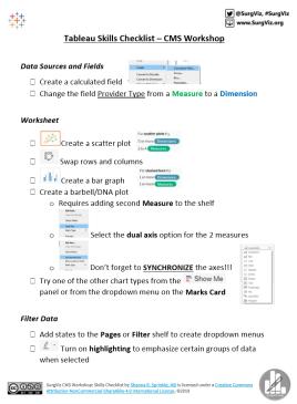 Tableau Skills CMS Checklist Pic